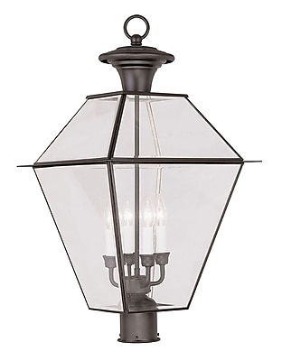 Livex Lighting 4-Light Bronze Outdoor Post Lantern with Clear Beveled Glass (2388-07)