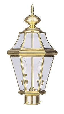 Livex Lighting 2-Light 21 in. Outdoor Polished Brass Finish Clear Beveled Glass Post Head (2264-02)