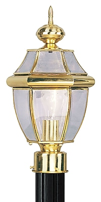 Livex Lighting 1-Light Outdoor Polished Brass Post Lantern (2153-02)