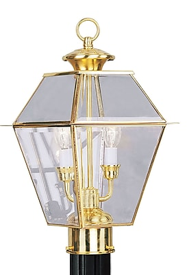 Livex Lighting 2-Light Polished Brass Outdoor Post Lantern (2284-02)