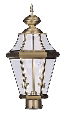 Livex Lighting 2-Light Outdoor Antique Brass Post Head with Clear Beveled Glass (2264-01)