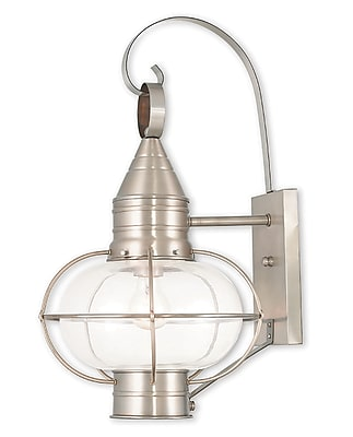 Livex Lighting 1-Light Brushed Nickel Outdoor Wall Mount Lantern (26904-91)