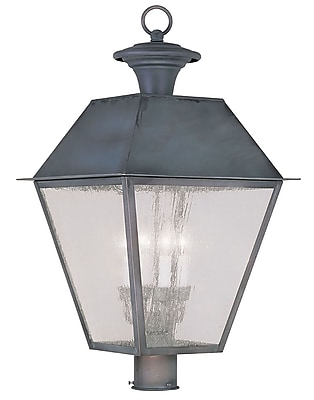 Livex Lighting 4-Light Charcoal Outdoor Post Lantern with Seeded Glass (2173-61)