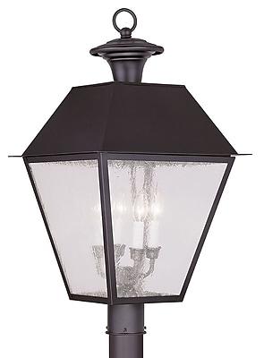 Livex Lighting 4-Light Bronze Outdoor Post Lantern with Seeded Glass (2173-07)