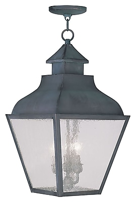 Livex Lighting 3-Light Charcoal Outdoor Pendant with Seeded Glass (2456-61)