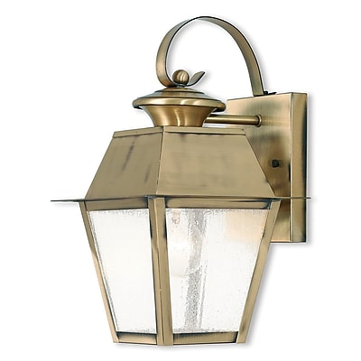 Livex Lighting 1-Light Antique Brass Outdoor Wall Lantern with Seeded Glass (2162-01)