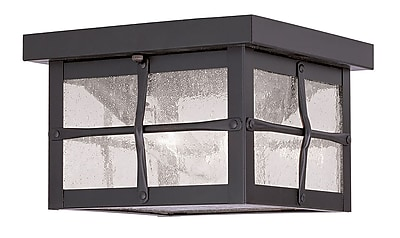 Livex Lighting 2-Light Hammered Bronze Finish Outdoor Mount with Seeded Glass (2688-07)