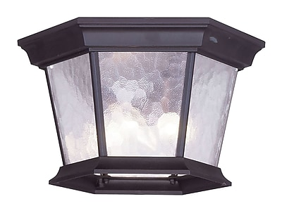 Livex Lighting 3-Light 7.0 in. Bronze Outdoor Clear Water Glass Flush Mount (7510-07)