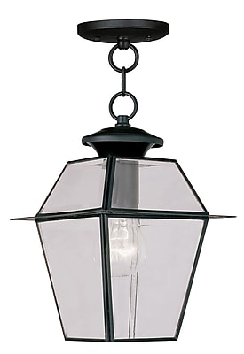 Livex Lighting 1-Light Black Outdoor Pendant with Clear Beveled Glass (2183-04)