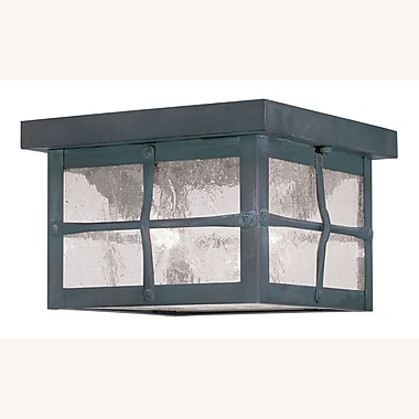 Livex Lighting 2-Light Hammered Charcoal Finish Outdoor Mount with Seeded Glass (2688-61)