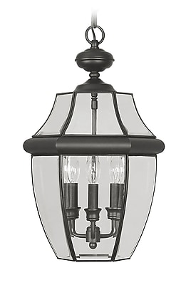 Livex Lighting 3-Light Black with Clear Beveled Glass Outdoor Pendant (2355-04)