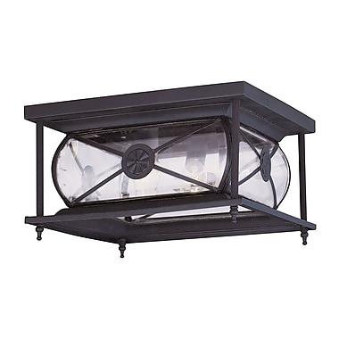 Livex Lighting 2-Light 6.0 in. Bronze Outdoor Clear Beveled Glass Flush Mount (2090-07)