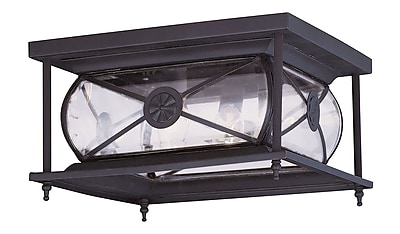 Livex Lighting 2-Light 6.0 in. Bronze Outdoor Clear Beveled Glass Flush Mount (2090-07)