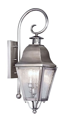 Livex Lighting 2-Light Wall Vintage Pewter Outdoor Wall Lantern (2551-29)