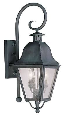 Livex Lighting 2-Light Charcoal Outdoor Wall Lantern with Seeded Glass (2551-61)