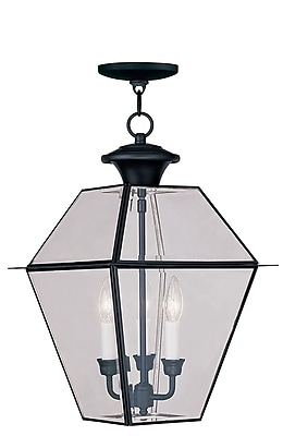 Livex Lighting 3-Light Black Outdoor Pendant with Clear Beveled Glass (2385-04)