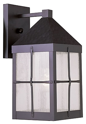 Livex Lighting 1-Light Hammered Bronze Finish Outdoor Wall Lantern with Seeded Glass (2681-07)