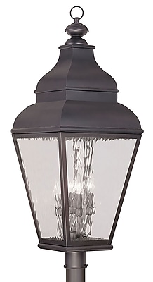 Livex Lighting 4-Light Charcoal Outdoor Post Lantern with Clear Water Glass (2608-07)