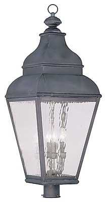 Livex Lighting 4-Light Bronze Outdoor Post Lantern with Clear Water Glass (2608-61)