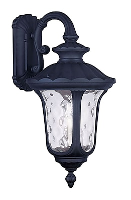 Livex Lighting 3-Light Black Outdoor Wall Lantern with Clear Water Glass (7857-04)