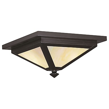 Livex Lighting 3-Light 7.0 in. Bronze Outdoor Iridescent Tiffany Glass Flush Mount (2148-07)