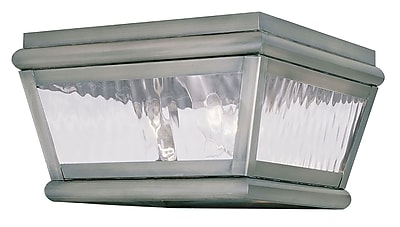 Livex Lighting 2-Light Vintage Pewter Outdoor Mount with Clear Water Glass (2611-29)