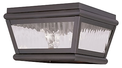 Livex Lighting 2-Light Bronze Outdoor Mount with Clear Water Glass (2611-07)