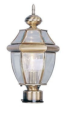 Livex Lighting 1-Light Outdoor Antique Brass Post Lantern (2153-01)