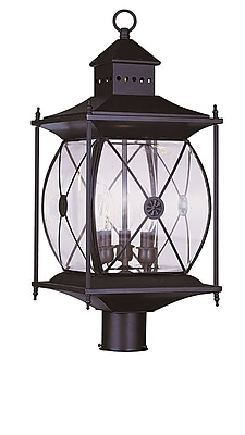 Livex Lighting 3-Light Outdoor Bronze Post Head with Clear Beveled Glass (2096-07)