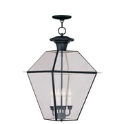 Livex Lighting 4-Light Black Outdoor Pendant with Clear Beveled Glass (2387-04)