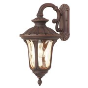 Livex Lighting 1-Light Bronze Outdoor Wall Lantern with Light Amber Water Glass (7653-58)