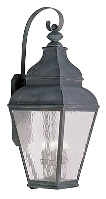 Livex Lighting 4-Light Vintage Pewter Outdoor Wall Lantern with Clear Water Glass (2607-61)