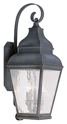 Livex Lighting 3-Light Charcoal Outdoor Wall Lantern with Clear Water Glass (2605-61)