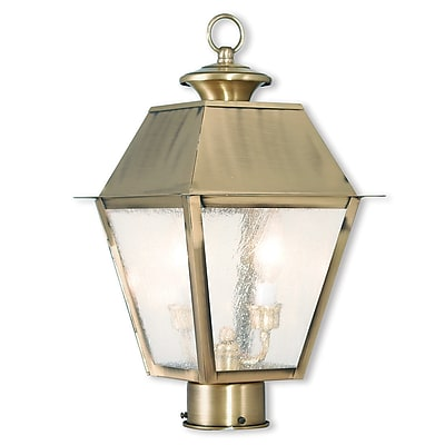 Livex Lighting 2-Light Outdoor Antique Brass Post Light (2166-01)
