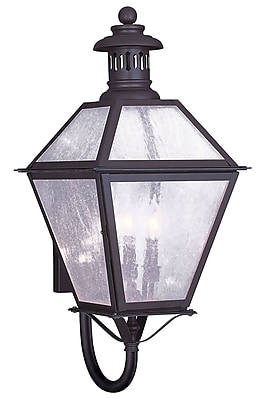 Livex Lighting 3-Light 27 in. Bronze Finish Seeded Glass Outdoor Wall Lantern (2047-07)