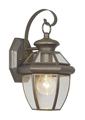 Livex Lighting 1-Light 13 in. Outdoor Wall Lantern Bronze Finish Clear Flat Glass (2051-07)