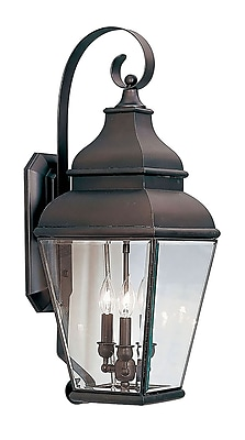 Livex Lighting 3-Light Bronze Outdoor Wall Lantern with Clear Beveled Glass (2593-07)