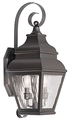 Livex Lighting 2-Light Bronze Outdoor Wall Lantern with Clear Water Glass (2602-07)