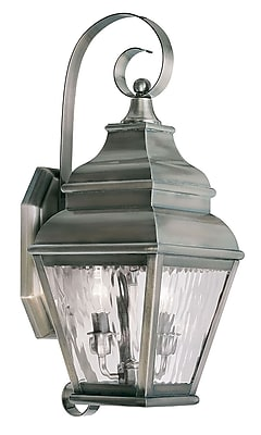 Livex Lighting 2-Light Vintage Pewter Outdoor Wall Lantern with Clear Water Glass (2602-29)
