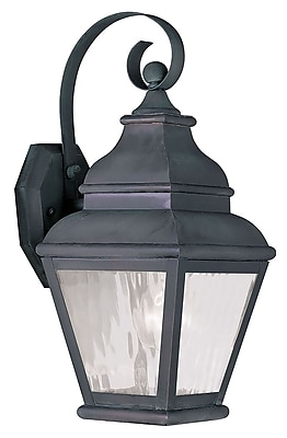 Livex Lighting 1-Light Charcoal Outdoor Wall Lantern with Clear Water Glass (2601-61)