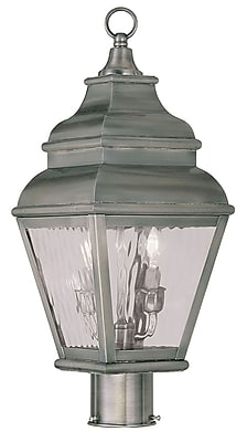 Livex Lighting 2-Light Vintage Pewter Outdoor Post Lantern with Clear Water Glass (2603-29)