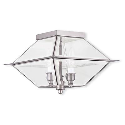 Livex Lighting 3-Light Antique Brass Outdoor Candelabra Flush Mount-Light (2185-91)