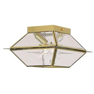 Livex Lighting 2-Light Polished Brass Flush Mount with Clear Beveled Glass (2184-02)