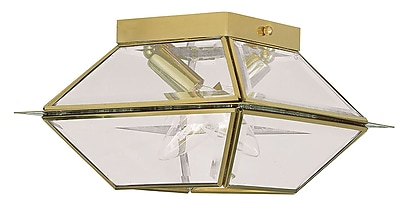 Livex Lighting 2-Light Polished Brass Flush Mount with Clear Beveled Glass (2184-02)