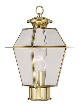 Livex Lighting 1-Light Polished Brass Outdoor Post Lantern with Clear Beveled Glass (2182-02)