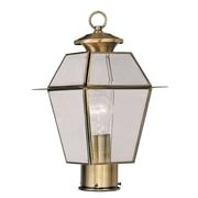 Livex Lighting 1-Light Antique Brass Outdoor Post Lantern with Clear Beveled Glass (2182-01)