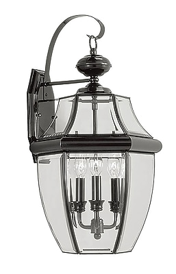 Livex Lighting 3-Light Outdoor Black Wall Lantern with Clear Beveled Glass (2351-04)