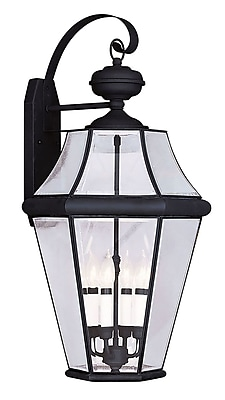 Livex Lighting 4-Light Black Outdoor Wall Lantern with Clear Beveled Glass (2366-04)