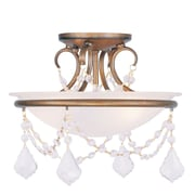 Livex Lighting 2-Light Antique Gold Leaf Mount with White Alabaster Glass (6523-48)
