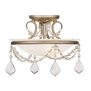 Livex Lighting 2-Light Hand Painted Antique Silver Leaf Mount with White Alabaster Glass (6523-73)